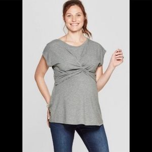 Isabel Maternity shirt sleeve Twist Front top